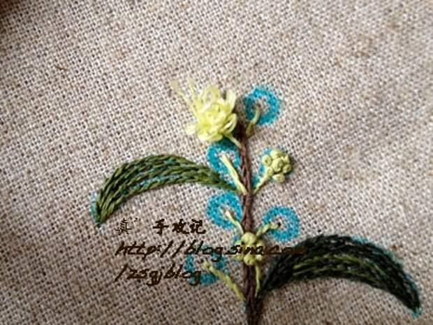 Фото мастер-класс по вышивке веточки мимозы (7) (400x300, 156Kb)