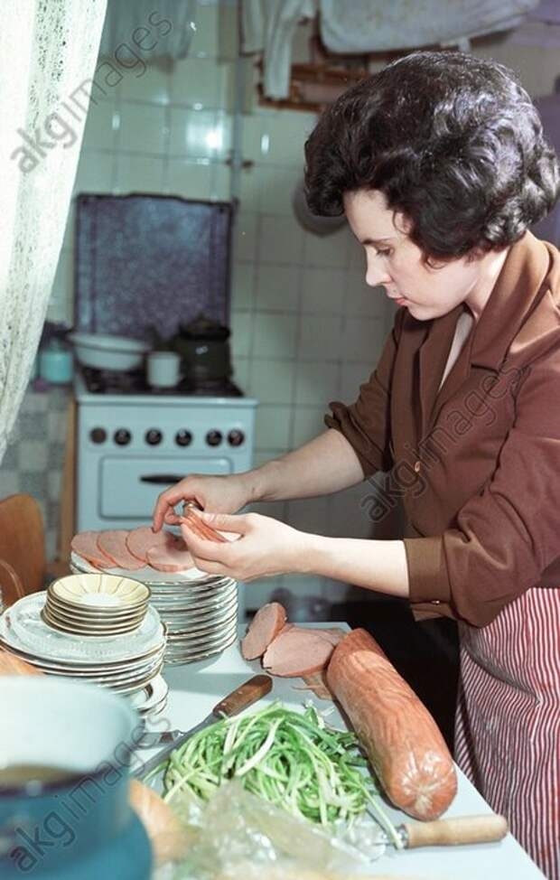 1966 Wife of the Soviet space pilot German Titov Tamara getting ready to welcome the guests.jpg