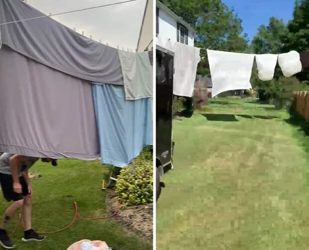 Что делать, если соседи направляют 5 камер видеонаблюдения к вам во двор? Просто развесьте белье