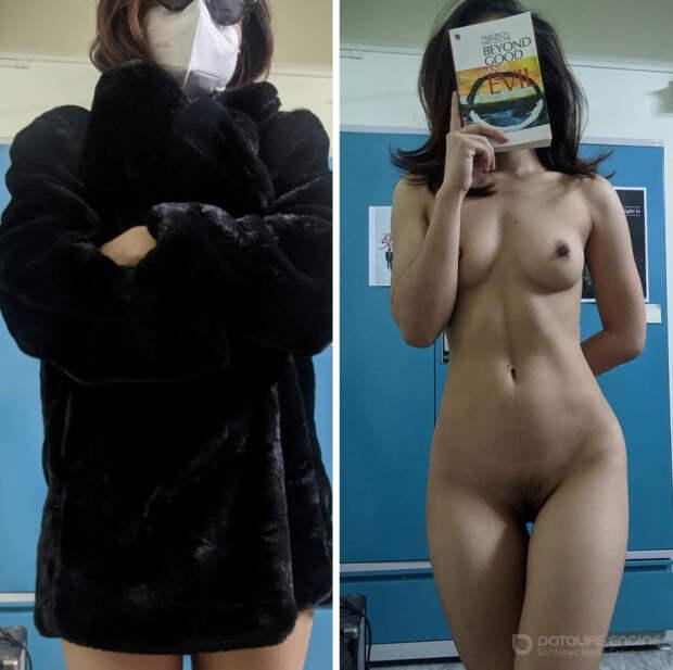 Подборка фотографий одетых и сразу раздетых девушек