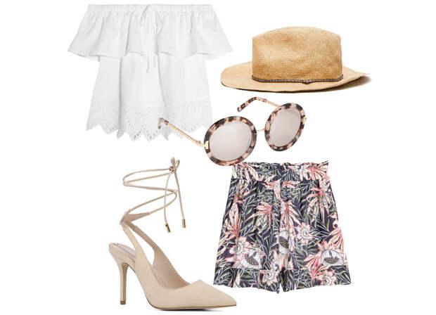 Выбор ELLE: шорты H&M, топ Madewell, шляпа Zara, солнцезащитные очки Aldo