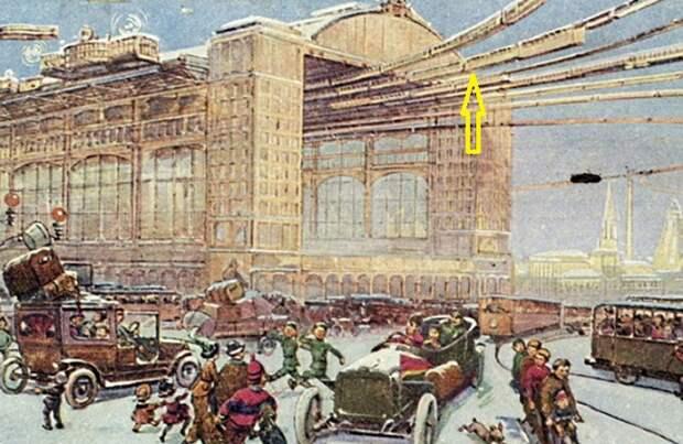 Так представляли художники-футуристы центральный железнодорожный вокзал Москвы. | Фото: moya-planeta.ru.