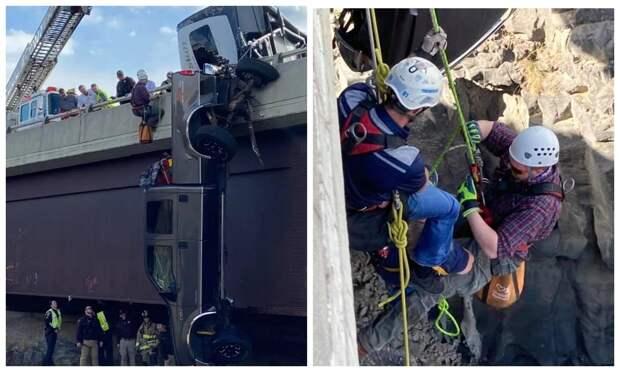 Невероятное спасение: как вытащили пару пенсионеров из пикапа, повисшего над пропастью в Айдахо