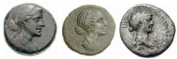 Античные монеты с профилем Клеопатры. I в. до н.э.