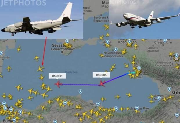 Российские президентские самолеты прошли мимо американского разведчика над Черным морем