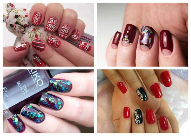 Новогодний маникюр 2017, модные тенденции - маникюр в красных тонах и дизайн ногтей с имитацией битого стекла, фото