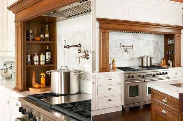 Полки в кухонном гарнитуре.