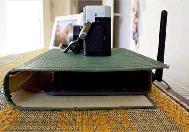 Беспроводный модем можно спрятать, используя старую обложку для книги.