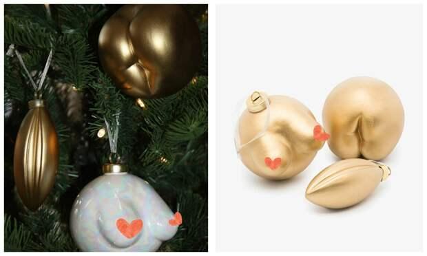 Новый Год сперчинкой: известный британский дизайнер создала елочные шары ввиде женских прелестей