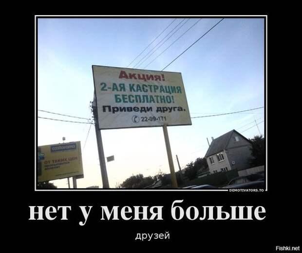 На изображении может находиться: небо и на улице, текст «акция! 2-ая кастрация бесплатно! приведи друга. га. © 22-99-171 DEMOTIVATORS. o нет y меня больше друзей Fishki. net»