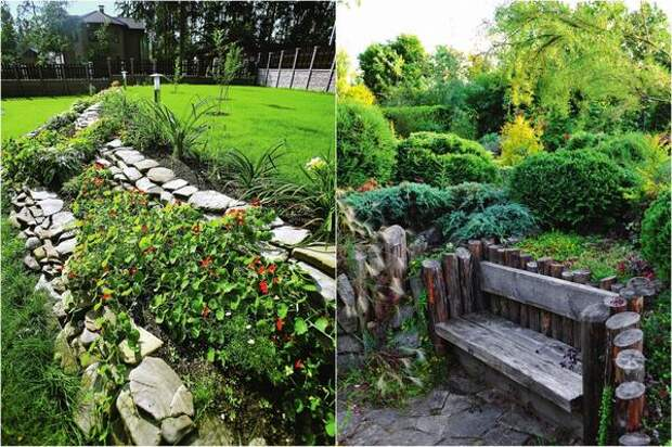Слева: Подпорная стенка-цветник не только украшает участок, но и зонирует территорию. Справа: Скамейка, встроенная в склон, формирует удобное и необычное место для отдыха.