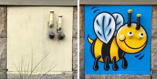 Находя серые и скучные штуки, художник-невидимка превращает их в яркие арт-объекты