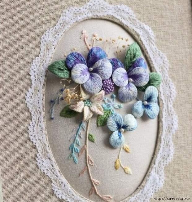 Цветы объемной вышивкой гладью. Красивые работы (58) (630x662, 365Kb)
