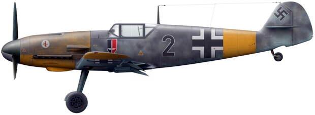 Истребитель Bf 109F из эскадрильи 5./JG 52, лето 1941 года (художник Владимир Камский). - Вынужденные драться? С удовольствием! | Военно-исторический портал Warspot.ru