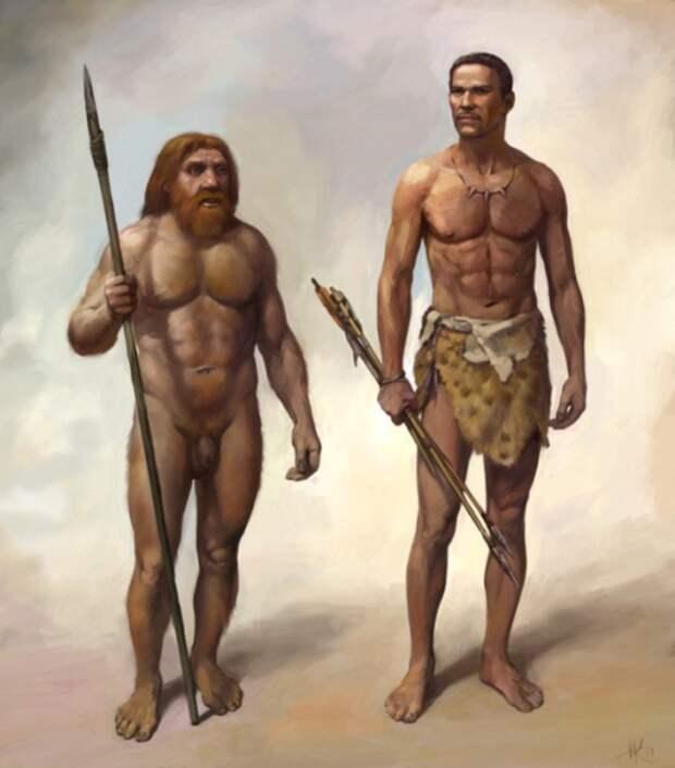 Неандерталец и Homo sapiens.   Фото: paranormal-news.ru.
