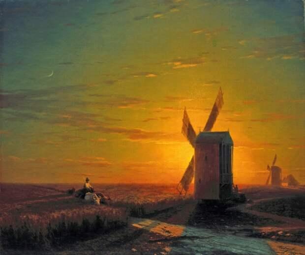 Иван Айвазовский. Ветряные мельницы в украинской степи при закате солнца. 1862