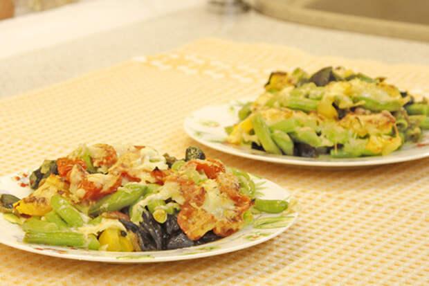 Фото к рецепту: Зелёная фасоль с грибами