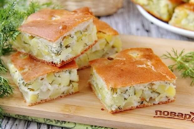 Заливной пирог с картошкой на кефире