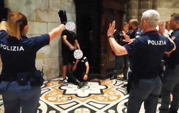 Опубликовано видео задержания захватившего собор в Италии мужчины