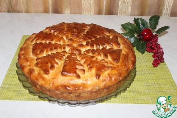 Пирог с халвой и грецкими орехами