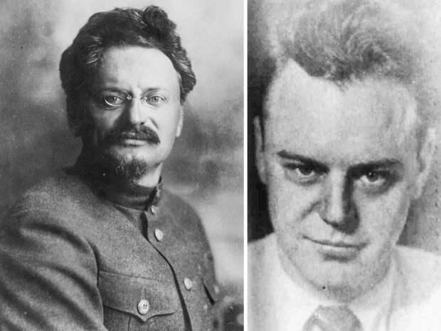 Лев Троцкий (слева); его сын Лев Седов. Общественное достояние