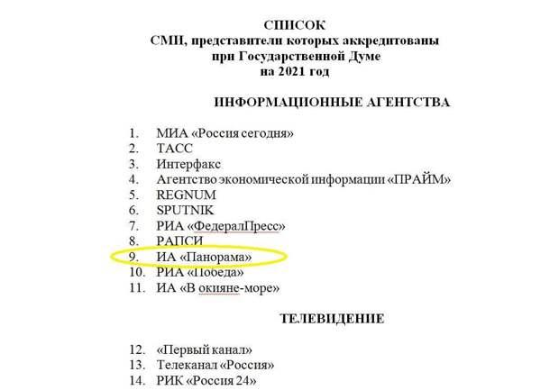 Госдума опровергла аккредитацию фейкового ИА «Панорама»
