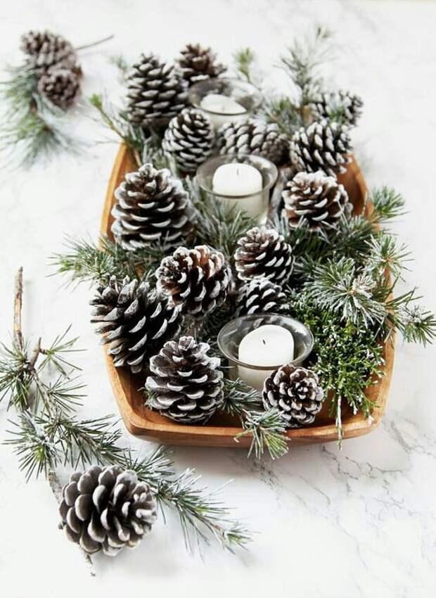 Новогодний декор с шишками