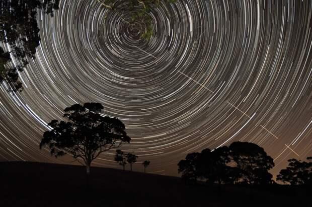Следы звёзд и Международной космической станции