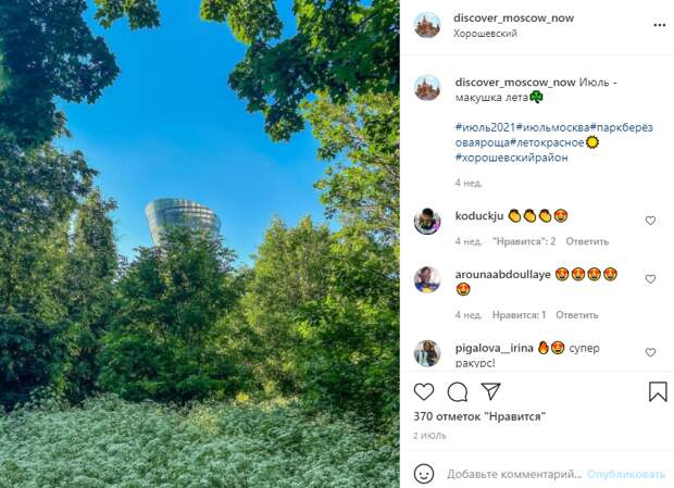 Фото дня: многоэтажка в Хорошевке спряталась в кустах