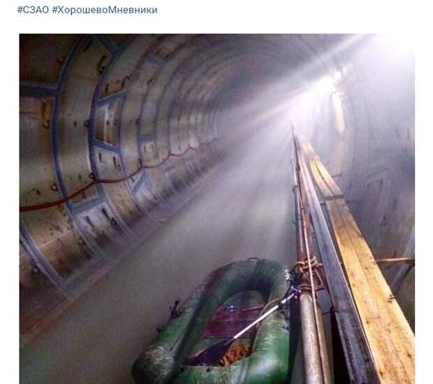 Подтопление тоннеля произошло на перегоне станции метро «Хорошевская»