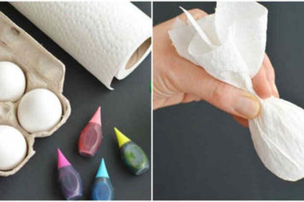 Красим яйца на Пасху по-новому с помощью пищевых красителей и салфетки
