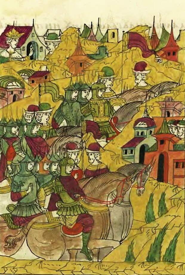 Иван Грозный отправляет воевод с ратными людьми на помощь гарнизону Рингена. Миниатюра из Лицевого свода - Триста рингенцев | Warspot.ru