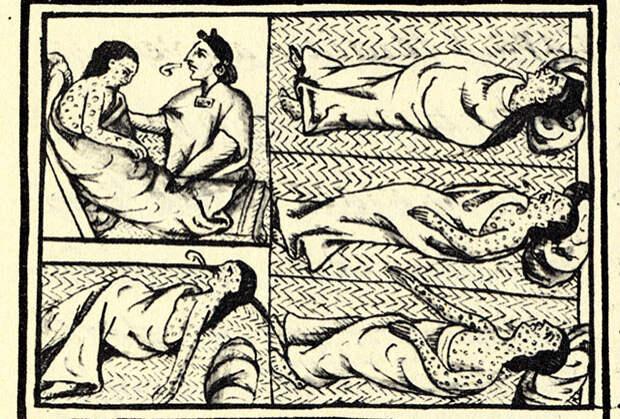 Рисунок больного индейца, пораженного оспой во время эпохи завоеваний