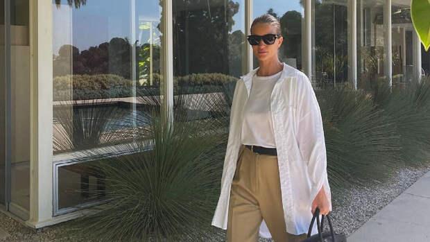 Белая рубашка + широкие брюки: безупречный образ от Роузи Хантингтон-Уайтли