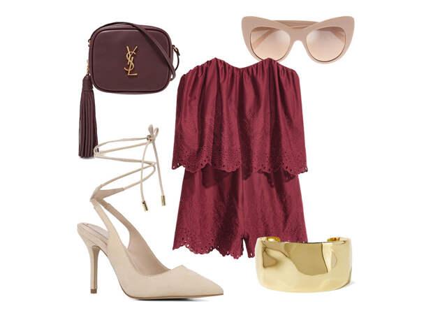 Выбор ELLE: ромпер H&M, сумка Saint Laurent, солнцезащитные очки Stella McCartney, браслет-кафф Ippolita