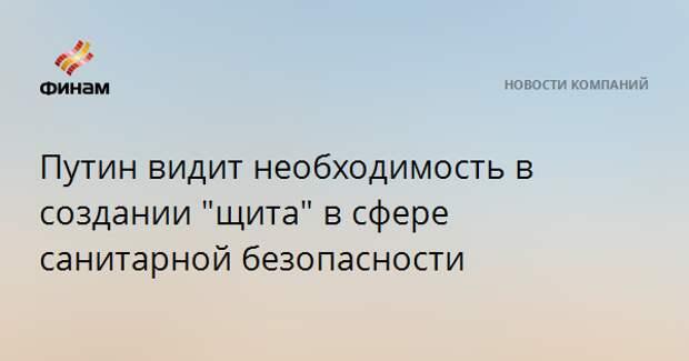 """Путин видит необходимость в создании """"щита"""" в сфере санитарной безопасности"""