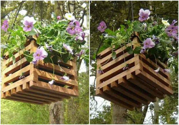 Кашпо из деревянных планок. | Фото: Pinterest.