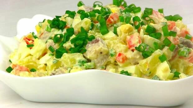 """салат """"Прибой """" с сельдью и картофелем"""