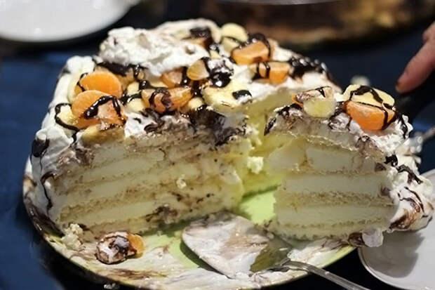 Новогодний торт за 5 минут без выпечки