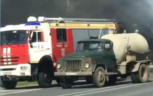 При возгорании автокрана на трассе М-5 в Рязанской области никто не пострадал