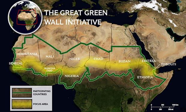 Великая Зеленая Стена: Африка строит защиту от пустыни Сахары длиной 8000 километров