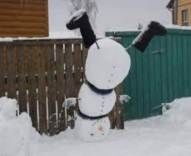 необычные снеговики с детьми