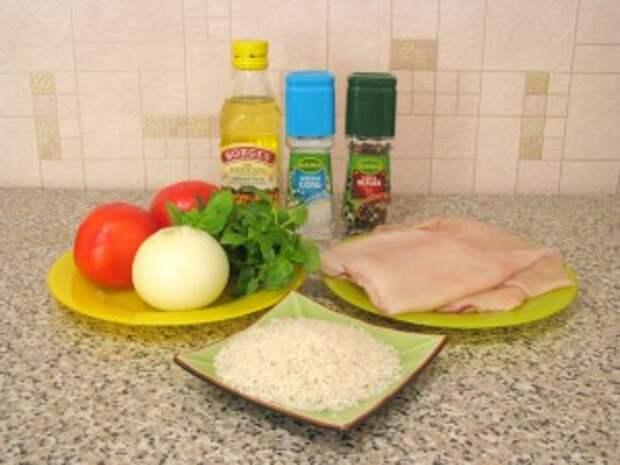 Кальмары с рисом и помидорами. Ингредиенты