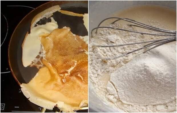 В тесто стоит добавить муку, чтобы блины не прилипали