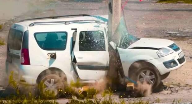 Lada Largus провалил краш-тест против столба