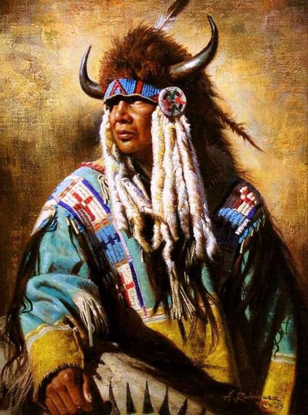 Рогатые шапки у индейцев тоже встречались нередко. /Фото: blogspot.com