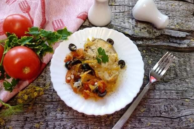 Треска с овощами по-средиземноморски