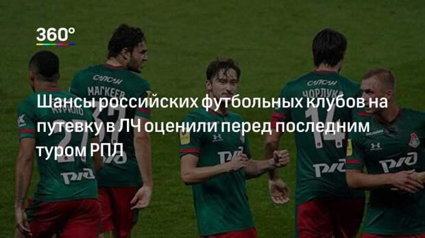 Шансы российских футбольных клубов на путевку в ЛЧ оценили перед последним туром РПЛ
