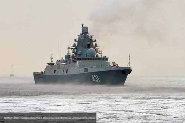 Опубликовано видео постановки помех фрегатом ВМФ РФ у побережья Сирии