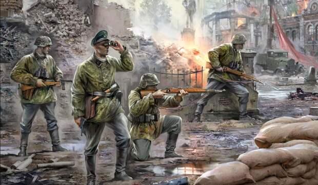 немецкие пехотинцы в городском бою